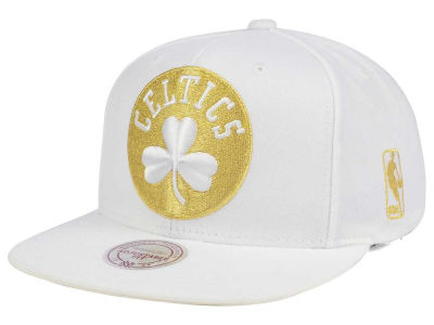 Boston Celtics Mitchell & Ness NBA White Goldie XL Snapback Cap