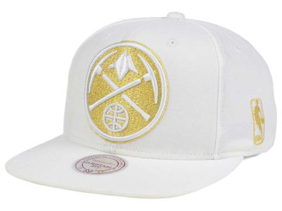 Denver Nuggets Mitchell & Ness NBA White Goldie XL Snapback Cap