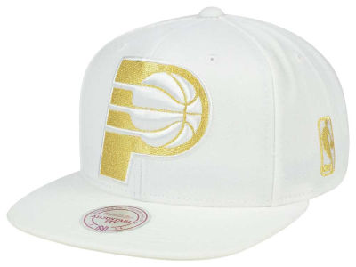 Indiana Pacers Mitchell & Ness NBA White Goldie XL Snapback Cap