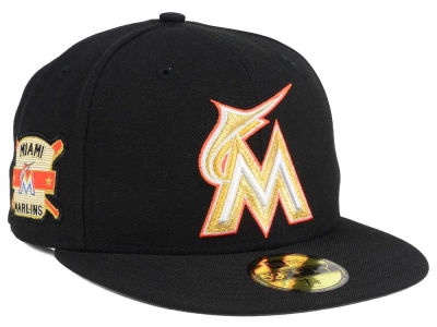 Miami Marlins New Era MLB Exclusive Gold Patch 59FIFTY Cap