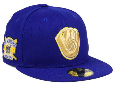 Milwaukee Brewers New Era MLB Exclusive Gold Patch 59FIFTY Cap