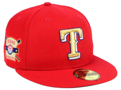 Texas Rangers New Era MLB Exclusive Gold Patch 59FIFTY Cap