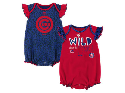 Chicago Cubs Outerstuff MLB Newborn Girls Team Sparkle Creeper Set