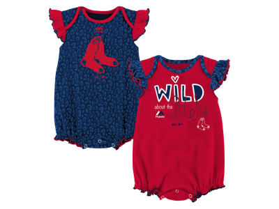Boston Red Sox Outerstuff MLB Newborn Girls Team Sparkle Creeper Set