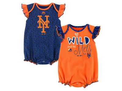New York Mets Outerstuff MLB Newborn Girls Team Sparkle Creeper Set