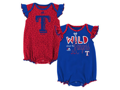 Texas Rangers Outerstuff MLB Newborn Girls Team Sparkle Creeper Set