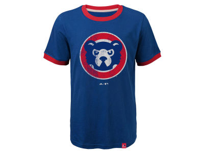 Chicago Cubs Outerstuff MLB Youth Baseball Stripes Coop Ringer T-Shirt