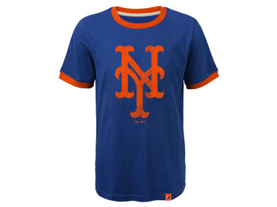 New York Mets Outerstuff MLB Youth Baseball Stripes Ringer T-Shirt