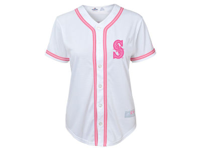 Seattle Mariners Majestic MLB Toddler Cool Base Pink Glitter Jersey