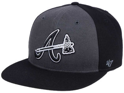 Atlanta Braves '47 MLB Black Sure Shot Accent Snapback Cap
