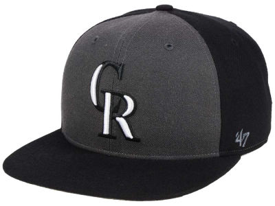 Colorado Rockies '47 MLB Black Sure Shot Accent Snapback Cap
