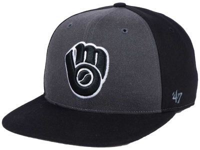 Milwaukee Brewers '47 MLB Black Sure Shot Accent Snapback Cap