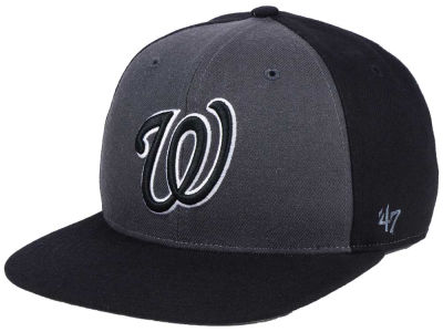 Washington Nationals '47 MLB Black Sure Shot Accent Snapback Cap
