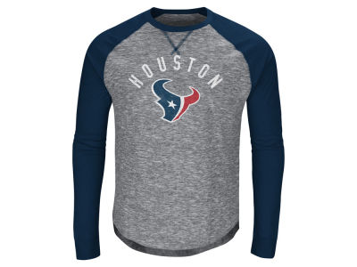 Houston Texans Majestic NFL Men's Corner Blitz Raglan Long Sleeve T-Shirt