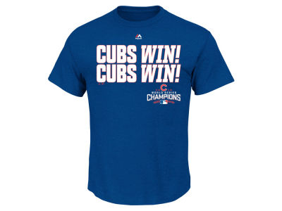 "Chicago Cubs Majestic MLB Men's ""CUBS WIN!"" Marquee T-Shirt"