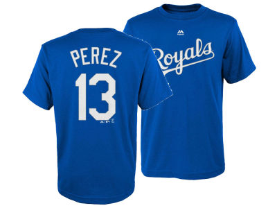 Kansas City Royals Salvador Perez Majestic MLB Youth Official Player T-Shirt