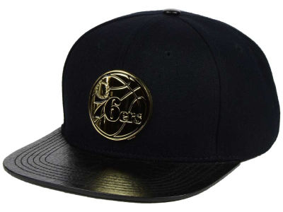 Philadelphia 76ers Pro Standard NBA Black on Gold Metal Strapback Cap