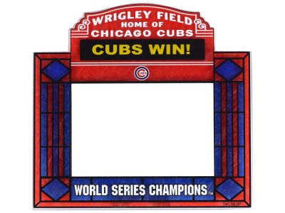 Chicago Cubs MLB WS Champ 16 Art Glass Picture Frame