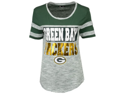 Green Bay Packers 5th & Ocean NFL Women's Space Dye Foil T-Shirt