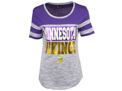 Minnesota Vikings 5th & Ocean NFL Women's Space Dye Foil T-Shirt