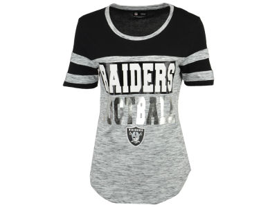 Oakland Raiders 5th & Ocean NFL Women's Space Dye Foil T-Shirt