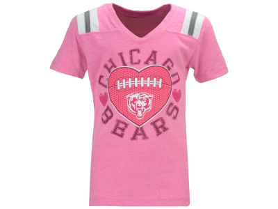Chicago Bears NFL Youth Girls Pink Heart Football T-Shirt