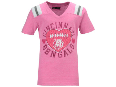 Cincinnati Bengals NFL Youth Girls Pink Heart Football T-Shirt