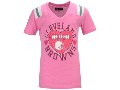 Cleveland Browns NFL Youth Girls Pink Heart Football T-Shirt