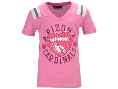 Arizona Cardinals 5th & Ocean NFL Youth Girls Pink Heart Football T-Shirt