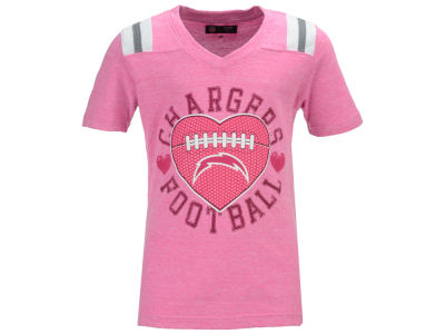 Los Angeles Chargers 5th & Ocean NFL Youth Girls Pink Heart Football T-Shirt