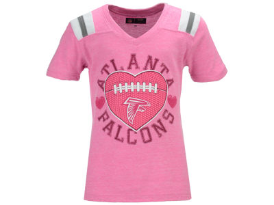 Atlanta Falcons NFL Youth Girls Pink Heart Football T-Shirt