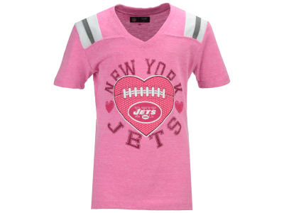 New York Jets 5th & Ocean NFL Youth Girls Pink Heart Football T-Shirt