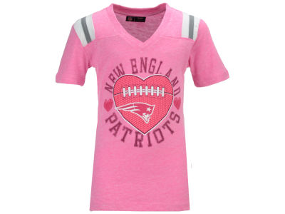 New England Patriots NFL Youth Girls Pink Heart Football T-Shirt