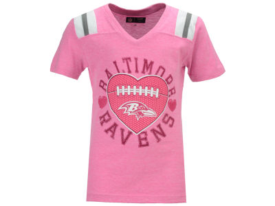 Baltimore Ravens 5th & Ocean NFL Youth Girls Pink Heart Football T-Shirt