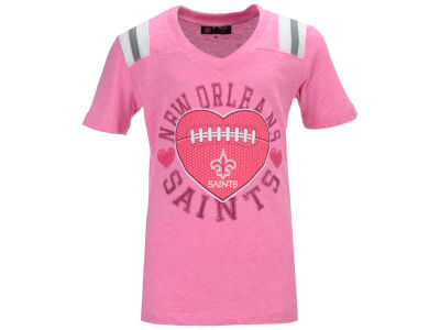 New Orleans Saints NFL Youth Girls Pink Heart Football T-Shirt