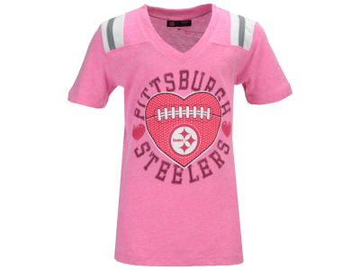 Pittsburgh Steelers NFL Youth Girls Pink Heart Football T-Shirt