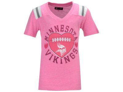 Minnesota Vikings NFL Youth Girls Pink Heart Football T-Shirt