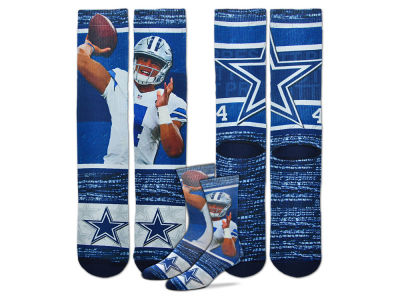 Dallas Cowboys Dak Prescott For Bare Feet NFL Rush Player Jersey Crew Socks