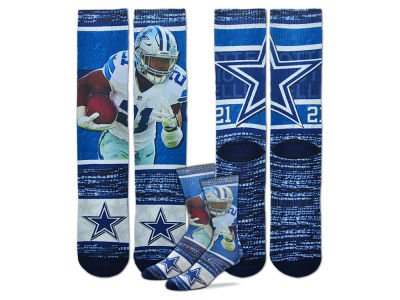 Dallas Cowboys Ezekiel Elliott For Bare Feet NFL Rush Player Jersey Crew Socks