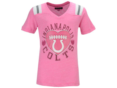 Indianapolis Colts 5th & Ocean NFL Youth Girls Pink Heart Football T-Shirt