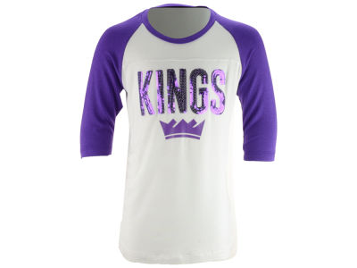 Sacramento Kings 5th & Ocean NBA Youth Girls Sequin Raglan T-Shirt
