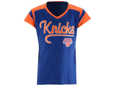 New York Knicks 5th & Ocean NBA Youth Girls Contrast Slub T-Shirt