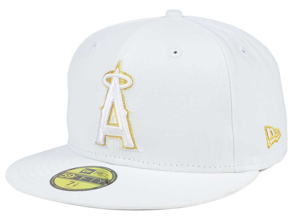 35bece9e75c ... closeout los angeles angels new era mlb white on metallic 59fifty cap  2dd6d debc2