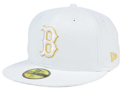 Boston Red Sox New Era MLB White On Metallic 59FIFTY Cap