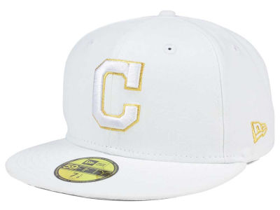 Cleveland Indians New Era MLB White On Metallic 59FIFTY Cap