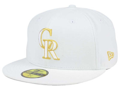 Colorado Rockies New Era MLB White On Metallic 59FIFTY Cap