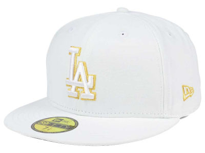 Los Angeles Dodgers New Era MLB White On Metallic 59FIFTY Cap