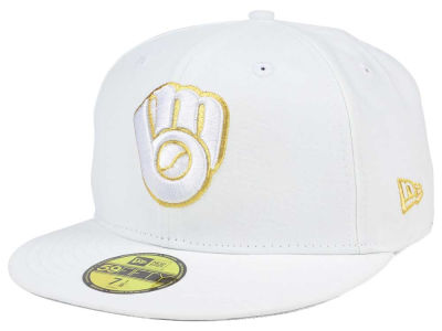 Milwaukee Brewers New Era MLB White On Metallic 59FIFTY Cap