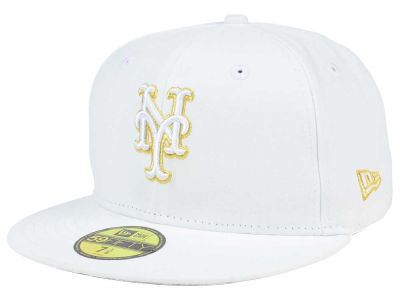 New York Mets New Era MLB White On Metallic 59FIFTY Cap