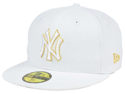New York Yankees New Era MLB White On Metallic 59FIFTY Cap